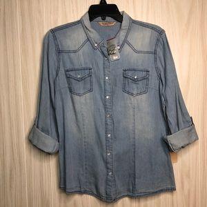 Highway Jeans Denim Button Up Shirt Chambray sz L